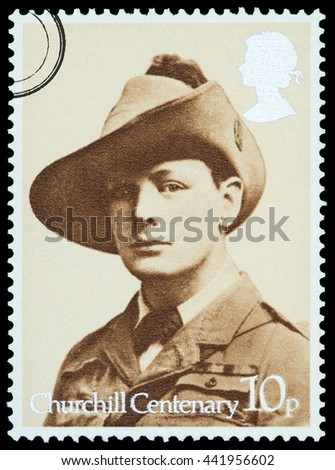 New York, USA - Circa 2016: A British postage stamp printed in the United Kingdom depicting Winston Churchill as a young man, Circa 1960 - stock photo