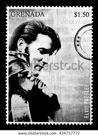 NEW YORK, USA - CIRCA 2010: A postage stamp printed in Grenada showing Elvis Presley, circa 2000 - stock photo