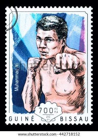 NEW YORK, USA - CIRCA 2016: A postage stamp printed in Guinea Bissau showing Muhammad Ali, circa 2014