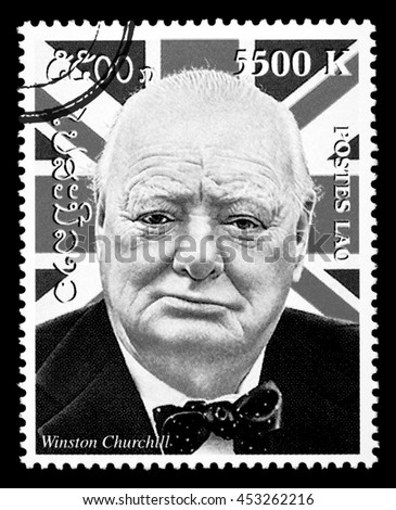 New York - USA - Circa 2010: A postage stamp printed in Laos showing a portrait Winston Churchill, circa 2000 - stock photo