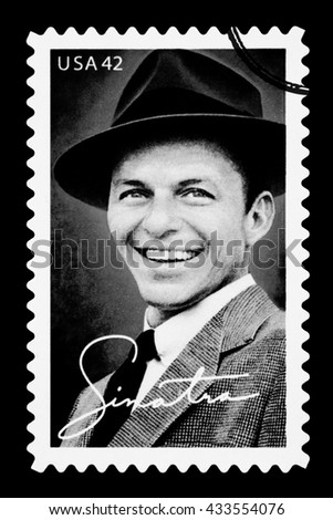 NEW YORK, USA - CIRCA 2010: A postage stamp printed in the USA showing Frank Sinatra, circa 2003 - stock photo