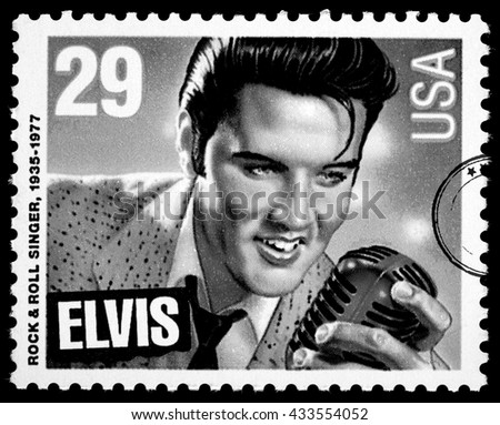 NEW YORK, USA - CIRCA 2010: A postage stamp printed in USA showing Elvis Presley, circa 1980 - stock photo