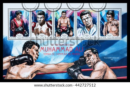 NEW YORK, USA - CIRCA 2016: A postage stamp sheet printed in Guinea Bissau showing Muhammad Ali, circa 2014 - stock photo