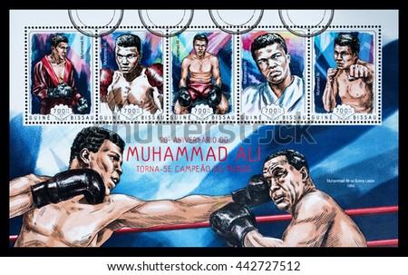 NEW YORK, USA - CIRCA 2016: A postage stamp sheet printed in Guinea Bissau showing Muhammad Ali, circa 2014 - stock photo