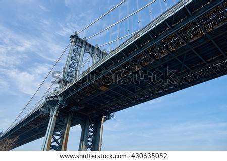 NEW YORK, USA - CIRCA MARCH, 2016: Manhattan Bridge at daytime. Brooklyn is the most populous of New York City's five boroughs.