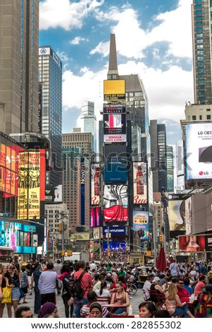 NEW YORK, USA - CIRCA MAY 2015: The famous Times Square in New York, USA. With over 39 million visitors annually, it is one of the world's most visited tourist attractions. - stock photo