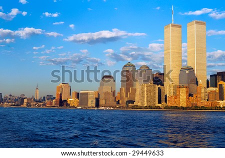 NEW YORK, USA, CIRCA SEPTEMBER 1998: Peaceful view of the Twin Towers and Manhattan, September 1998. The towers were attacked on September 11, 2001 - stock photo