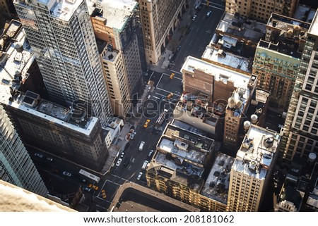 New York, USA - December 11, 2013: Aerial view of Manhattan, New York City - stock photo