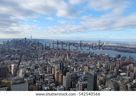 NEW YORK, USA - DECEMBER 3, 2016 - aerial view of the skyscrapers of New York from empire state building.