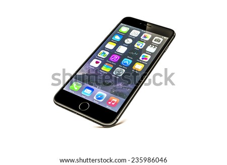 New York, USA - December 08, 2014: Front view of a space grey color iPhone 6 showing the home screen with iOS8. Isolated on white. - stock photo