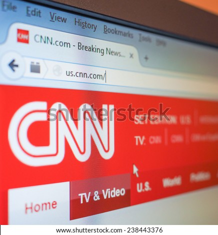 NEW YORK, USA - DECEMBER 15, 2014: home Page of the CNN Cable News Network - stock photo
