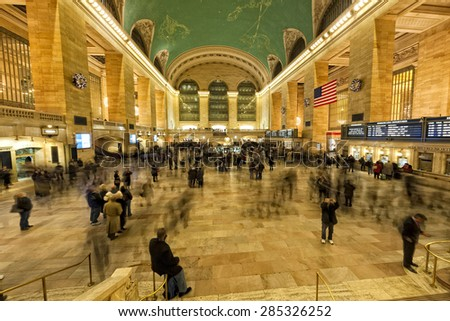 NEW YORK - USA - 11 DECEMBER 2011 Interior of Grand Central station full of people  - stock photo