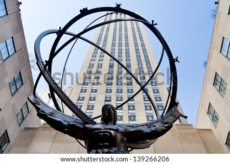 NEW YORK, USA - FEBRUARY, 3: Atlas statue in front of Rockefeller center in New York on February 3, 2010. Statue was created by sculptor Lee Lawrie and was installed in 1937. - stock photo