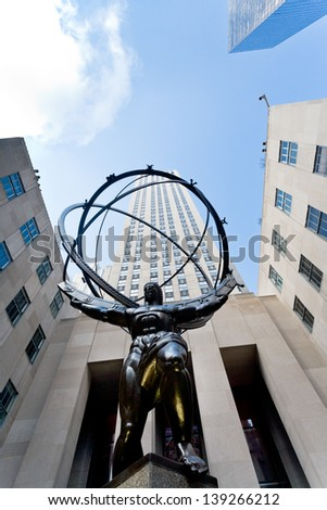 NEW YORK, USA - FEBRUARY, 3: Rockefeller Center and Atlas statue in New York on February 3, 2010. Statue was created by sculptor Lee Lawrie and was installed in 1937. - stock photo