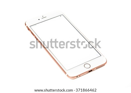 New York, USA - February 02, 2016: Studio shot of a white and Rose Gold iPhone 6s Plus with blank screen isolated on white. Apple released the iPhone 6s plus with 5.5 inches on September 25, 2015. - stock photo