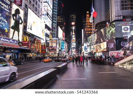 NEW YORK, USA - JANUARY 2016: After celebration of the new 2016 year at Times Square. Theaters and animated LED signs, is a symbol of New York City and the United States, and Manhattan.