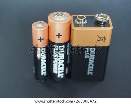 NEW YORK, USA - JANUARY 10, 2015: Duracell AAA, AA and 9V batteries - stock photo