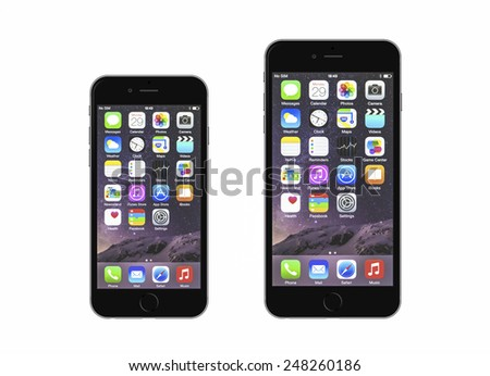 New York, USA - January 18, 2015: Front view of a space grey color iPhone 6 and iPhone 6 Plus - stock photo