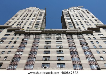 NEW YORK, USA - JULY 6, 2013: Architecture view of The Century apartment building in New York. The art deco building was completed in 1931 and is part of Central Park West Historic District. - stock photo