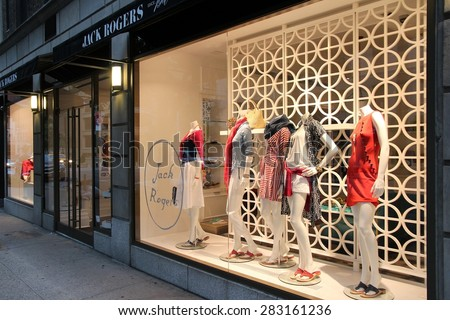 NEW YORK, USA - JULY 2, 2013: Jack Rogers sandals store on Madison Avenue in New York. Madison Avenue is one of the most recognized fashion shopping destination in the world. - stock photo