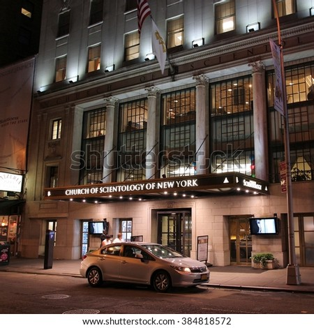 NEW YORK, USA - JULY 1, 2013: People walk past Church of Scientology in New York. Scientology gained publicity through its involvement with celebrities like Tom Cruise and John Travolta. - stock photo
