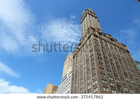 NEW YORK, USA - JULY 2, 2013: The Sherry Netherland Hotel in New York. The building was completed in 1927 and at that time it was the tallest hotel/apartment building in NY (570 ft / 170m). - stock photo
