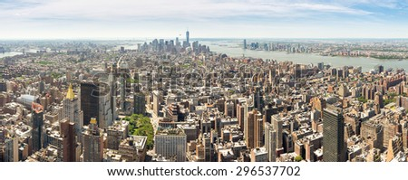 New York, USA - June 15, 2014: Panoramic view of lower Manhattan from the Empire State Building - stock photo