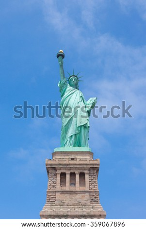 NEW YORK, USA - 13 JUNE 2014: Statue of Liberty on Liberty Island in New York Harbor with Manhattan skyline on August 11, 2014. Statue of Liberty is one of the most recognizable landmarks of New York. - stock photo