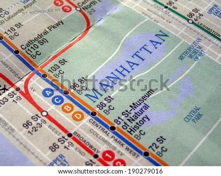 NEW YORK, USA - JUNE 25, 2008: Subway map of the New York underground lines - stock photo