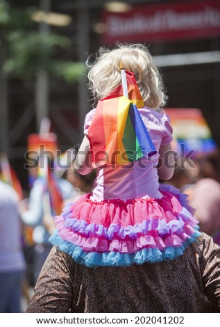 NEW YORK, USA - JUNE 29th 2014: The New York City Pride March commemorating the gay rights movement. - stock photo