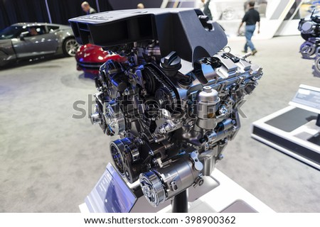 NEW YORK, USA - MARCH 23, 2016: Chevrolet 3.6L VVT DI engine on display during the New York International Auto Show at the Jacob Javits Center.