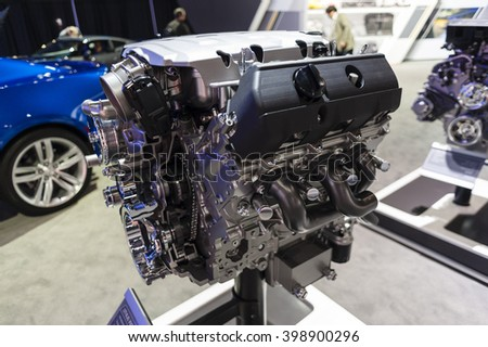 NEW YORK, USA - MARCH 23, 2016: Chevrolet LT1 6.2L VVT V8 engine on display during the New York International Auto Show at the Jacob Javits Center.