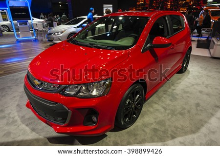 NEW YORK, USA - MARCH 23, 2016: Chevrolet Sonic on display during the New York International Auto Show at the Jacob Javits Center.