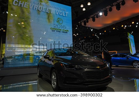 NEW YORK, USA - MARCH 23, 2016: Chevrolet Volt on display during the New York International Auto Show at the Jacob Javits Center. - stock photo