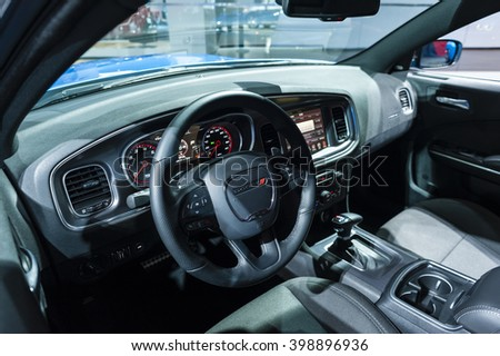 NEW YORK, USA - MARCH 23, 2016: Dodge Charger interior on display during the New York International Auto Show at the Jacob Javits Center. - stock photo
