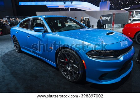 NEW YORK, USA - MARCH 23, 2016: Dodge Charger on display during the New York International Auto Show at the Jacob Javits Center. - stock photo