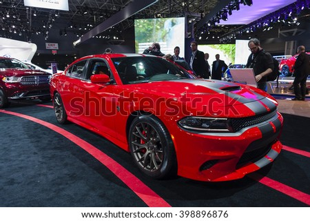 NEW YORK, USA - MARCH 23, 2016: Dodge Charger SRT Hellcat on display during the New York International Auto Show at the Jacob Javits Center. - stock photo