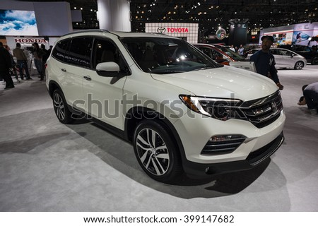 NEW YORK, USA - MARCH 23, 2016: Honda Pilot on display during the New York International Auto Show at the Jacob Javits Center.