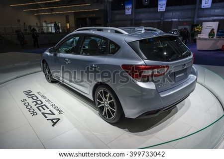 NEW YORK, USA - MARCH 24, 2016: Subaru Impreza 5 door on display during the New York International Auto Show at the Jacob Javits Center.