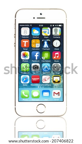 New York, USA - May 08, 2014: Studio shot of a white iPhone 5s showing the home screen with iOS7. Isolated on white. - stock photo