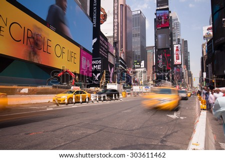 NEW YORK, USA - MAY 2015: summer day famous manhattan time square broadway traffic circa may 2015 new york, usa.