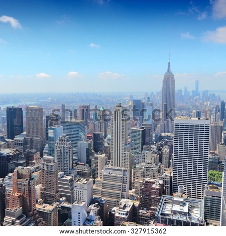 New York, USA - Midtown Manhattan skyline aerial view - stock photo