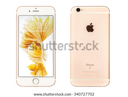 New York, USA - November 17, 2015: Front and back view of a Rose Gold  color iPhone 6S showing the home screen with iOS9. Isolated on white. - stock photo