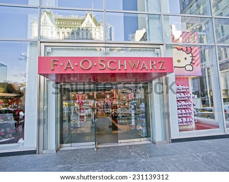 NEW YORK, USA - NOVEMBER 13th, 2014: New York's famous FAO Schwarz toy store exterior on 5th Avenue. - stock photo