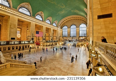 NEW YORK, USA - NOVEMBER 13th, 2014: The interior of New York's Grand Central station full of commuters long exposure. - stock photo