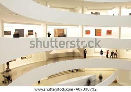 NEW YORK, USA - NOVEMBER 2015: The Solomon R. Guggenheim Museum is one of the most important museums in the world in the field of modern and contemporary art, New York USA on November 7, 2015. - stock photo