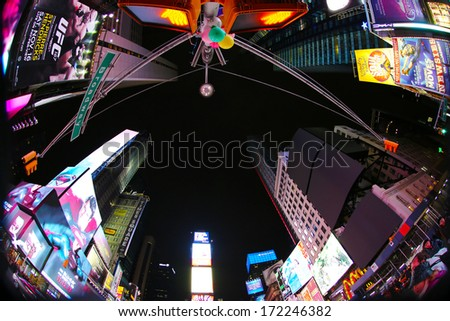 NEW YORK, USA - NOVEMBER 10: Times Square wide view. November 10, 2013 in New York, USA.. - stock photo