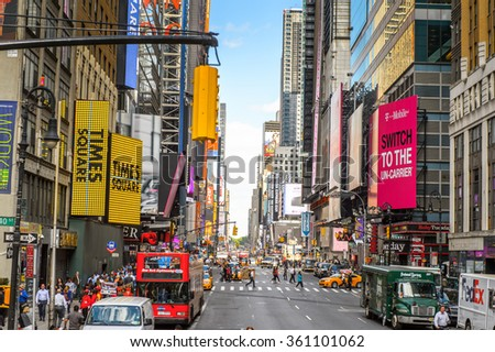 NEW YORK, USA - OCT 7, 2015: Architecture and traffic of Times Square, a major commercial neighborhood in Midtown Manhattan, New York City - stock photo