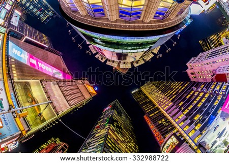 NEW YORK, USA - OCT 22, 2015: Times Square, featured with Broadway Theaters and huge number of LED signs, is a symbol of New York City and the United States. - stock photo