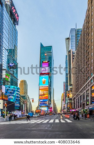NEW YORK, USA - OCT 21, 2015: Times Square, featured with Broadway Theaters and huge number of LED signs, is a symbol of New York City and the United States. - stock photo
